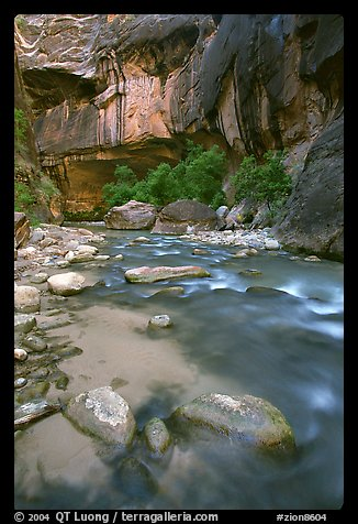 Rock alcove and Virgin River, the Narrows. Zion National Park, Utah, USA.