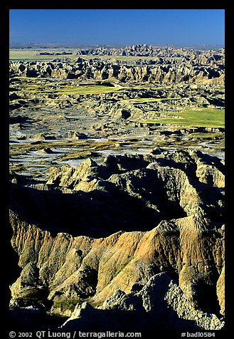 Badland ridges from Pinacles overlook, sunrise. Badlands National Park (color)