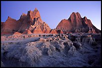 Erosion formations, Cedar Pass, dawn. Badlands National Park, South Dakota, USA. (color)