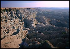 Basin of spires, pinacles, and deeply fluted gorges, Stronghold Unit. Badlands National Park ( color)