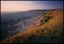 Prairie grasses and erosion canyon, southern unit, sunrise. Badlands National Park, South Dakota, USA.