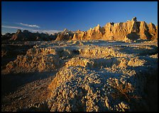 Eroded badlands, Cedar Pass, sunrise. Badlands National Park, South Dakota, USA.