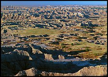 Prairie and eroded ridges stretching to horizon, early morning. Badlands National Park, South Dakota, USA.