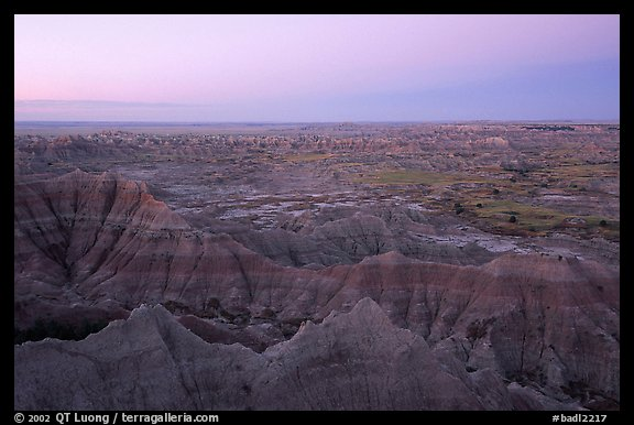 View from Pinacles overlook, dawn. Badlands National Park (color)