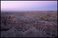View from Pinacles overlook, dawn. Badlands National Park, South Dakota, USA.