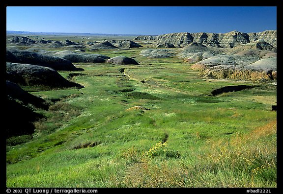 Badlands and Prairie at Yellow Mounds overlook. Badlands National Park (color)