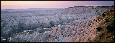 Badlands scenery at dawn, Stronghold Table. Badlands National Park (Panoramic color)
