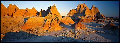 Badlands landscape, early morning. Badlands National Park (Panoramic color)