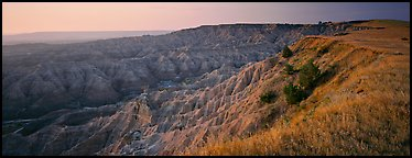 Badlands panorama seen from prairie edge. Badlands National Park (Panoramic color)