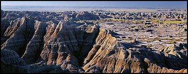 Scenic landscape of badlands. Badlands National Park (Panoramic color)