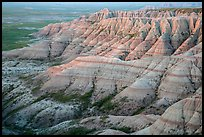 Badlands with colorful stripes at sunrise. Badlands National Park ( color)