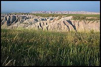 Mixed grass prairie alternating with badlands. Badlands National Park ( color)
