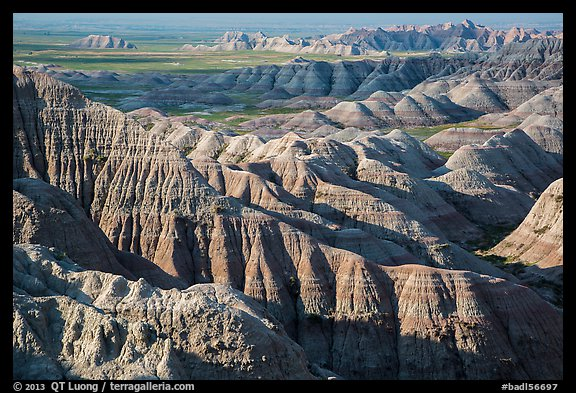 Buttes and ridges with shadows. Badlands National Park (color)