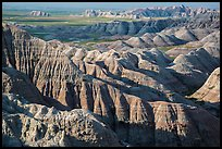 Buttes and ridges with shadows. Badlands National Park ( color)