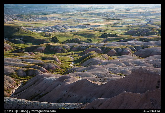 Buttes and grassy areas in Badlands Wilderness. Badlands National Park (color)