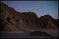 Badlands and star trails. Badlands National Park ( color)