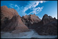 Peaks of Brule Formation at dawn. Badlands National Park ( color)