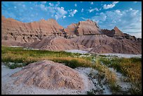 Grasses, cracked soil, and sharp peaks at dawn. Badlands National Park ( color)