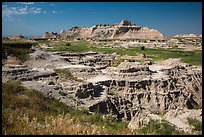 Badlands below and above prairie. Badlands National Park ( color)