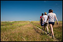Hikers on Medicine Root Trail. Badlands National Park ( color)