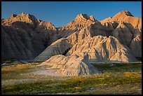 Prairie and badlands at sunset. Badlands National Park ( color)