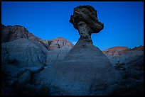 Pedestal rock at badlands at dusk. Badlands National Park ( color)