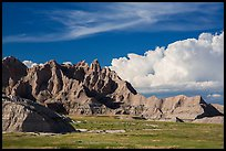 Badlands and afternoon clouds, Stronghold Unit. Badlands National Park ( color)