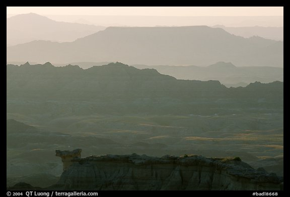 Backlit ridges of the Stronghold table in the southern unit, sunrise. Badlands National Park (color)