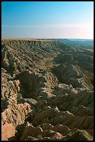 Looking east towards the The Stronghold table in the southern unit, morning. Badlands National Park, South Dakota, USA.