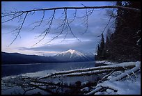 Shore of lake McDonald in winter. Glacier National Park, Montana, USA. (color)