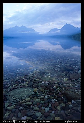 Peebles in lake McDonald and mountains. Glacier National Park (color)
