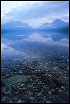 Peebles in lake McDonald and mountains. Glacier National Park, Montana, USA.