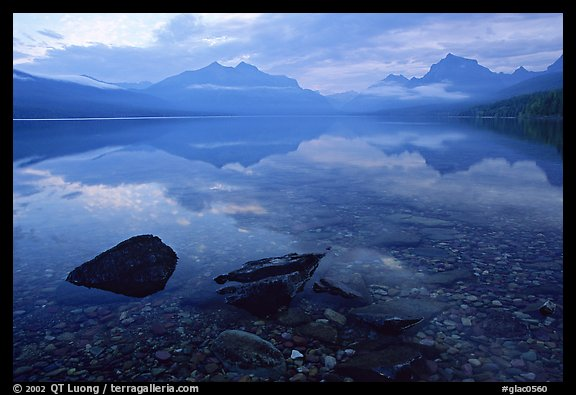 Rocks, peebles, and mountain reflections in lake McDonald. Glacier National Park (color)