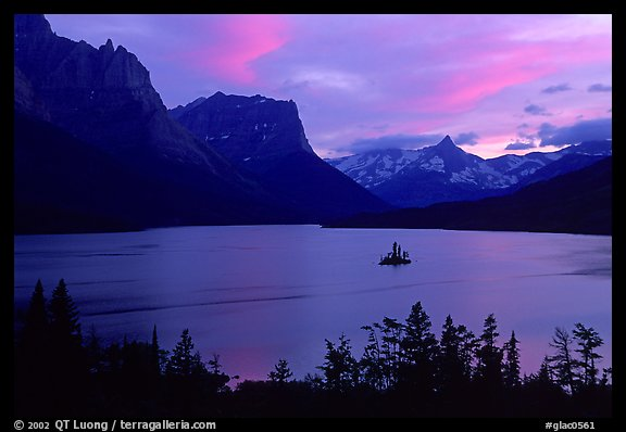 St Mary Lake and Wild Goose Island, sunset. Glacier National Park