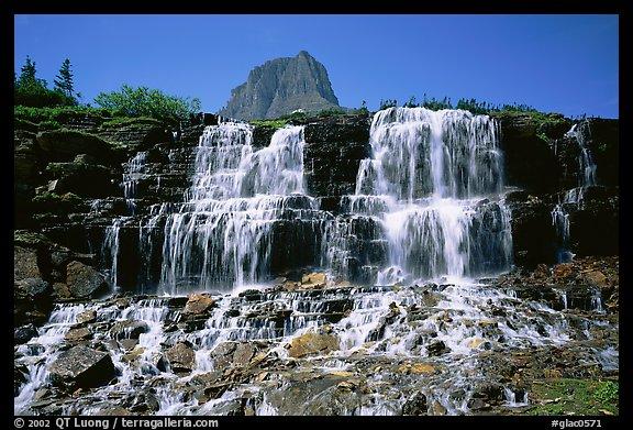 Waterfall at hanging gardens, Logan pass. Glacier National Park