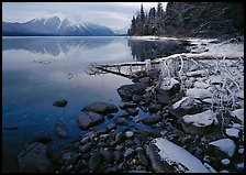 Snowy shoreline of Lake Mc Donald in winter. Glacier National Park, Montana, USA.