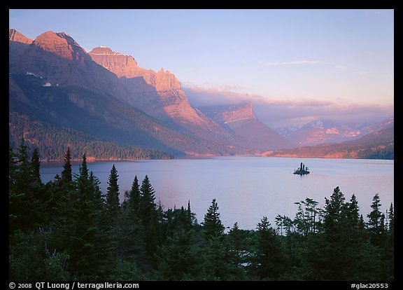 St Mary Lake and Wild Goose Island, sunrise. Glacier National Park (color)