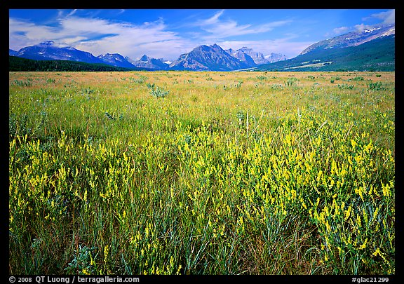 Lewis range seen from the eastern flats, morning. Glacier National Park, Montana, USA.