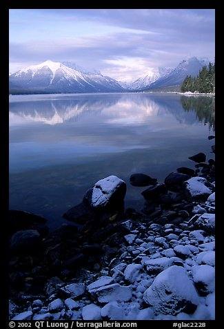 Shores of Lake McDonald in winter. Glacier National Park (color)