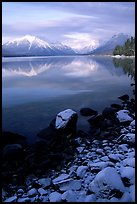 Shores of Lake McDonald in winter. Glacier National Park, Montana, USA.