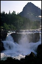 Waterfall in Many Glaciers area. Glacier National Park, Montana, USA.