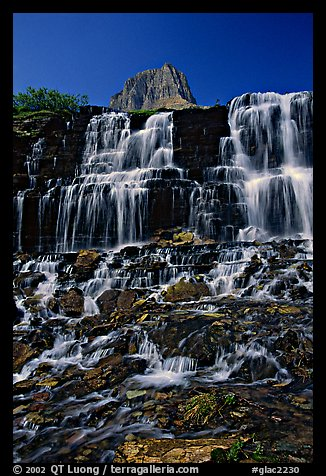 Waterfall at hanging gardens, Logan pass. Glacier National Park, Montana, USA.