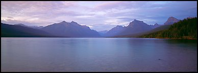Mountains rising above calm lake in the evening. Glacier National Park (Panoramic color)