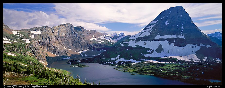 Alpine lake and triangular peak. Glacier National Park (color)