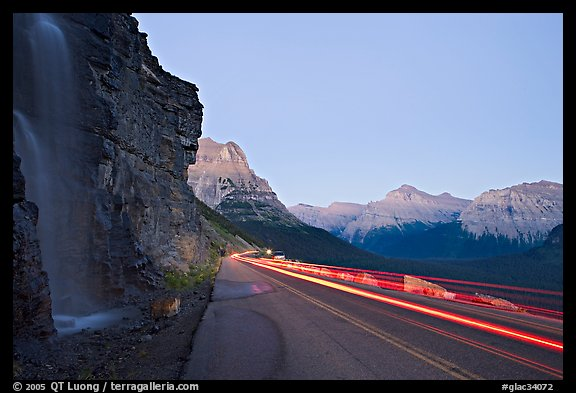 Roadside waterfall and light trail, Going-to-the-Sun road. Glacier National Park, Montana, USA.