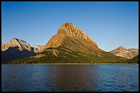 Swiftcurrent Lake, and Grinnell Point, Many Glacier. Glacier National Park, Montana, USA. (color)