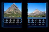 Grinnell Point and Swiftcurrent Lake framed by windows of Many Glacier Lodge. Glacier National Park ( color)
