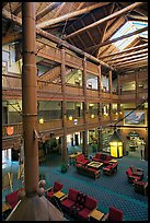 Main lobby of Many Glacier Lodge. Glacier National Park, Montana, USA.