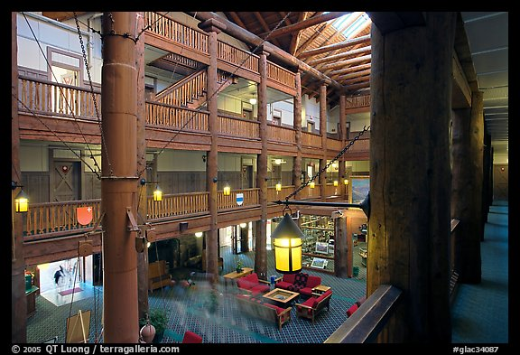 Main hall of Many Glacier Lodge. Glacier National Park, Montana, USA.