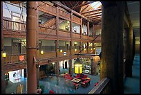Main hall of Many Glacier Lodge. Glacier National Park, Montana, USA. (color)